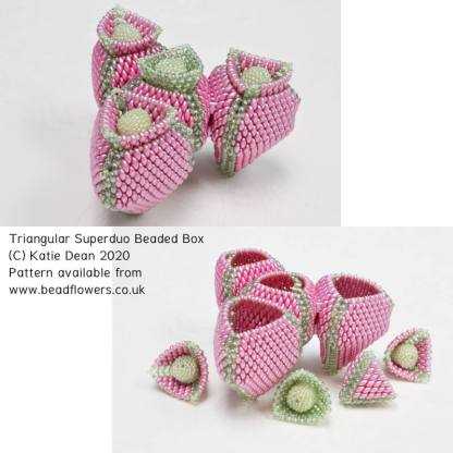 Triangular Superduo Beaded Box Pattern, Katie Dean, Beadflowers