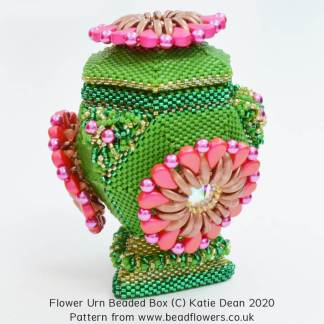 Flower Urn beaded box pattern, Katie Dean, Beadflowers