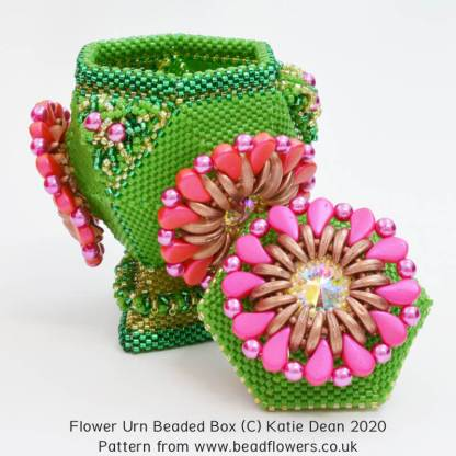 Flower Urn beaded box pattern, Katie Dean, Beadflowers