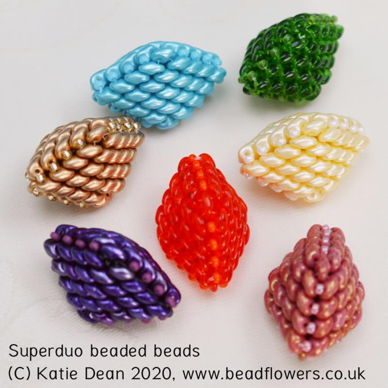 Superduo beaded beads international beading week 2020 project by Katie Dean Beadflowers