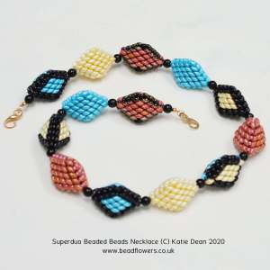 Superduo beaded beads necklace, Katie Dean, Beadflowers