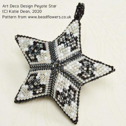 Beaded peyote star pattern: art deco design, by Katie Dean, Beadflowers