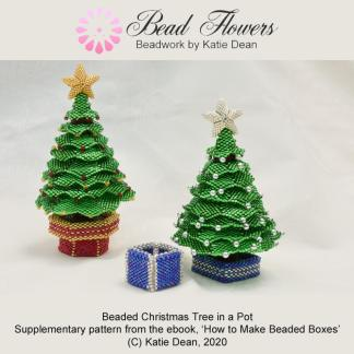 Beaded Christmas tree in a pot, beaded box, Katie Dean, Beadflowers