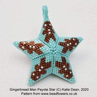 Gingerbread man beaded star pattern, Katie Dean, Beadflowers