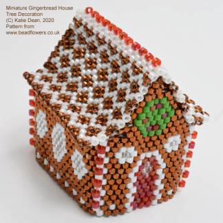 Beaded gingerbread house miniature Christmas decoration, Katie Dean, Beadflowers