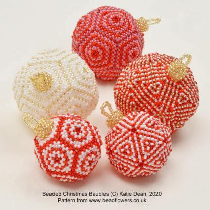 Beaded Christmas baubles pattern, Katie Dean, Beadflowers
