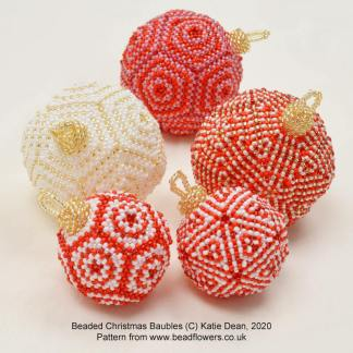 Beaded Christmas baubles pattern, Katie Dean, Beadflowers