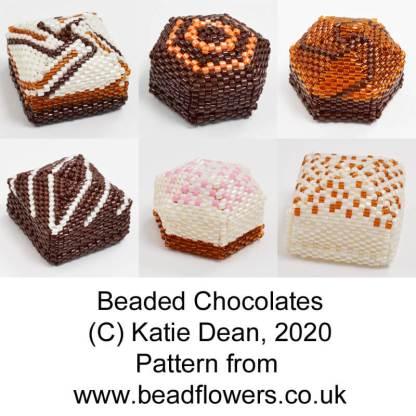 Beaded chocolates peyote stitch beading pattern by Katie Dean, Beadflowers