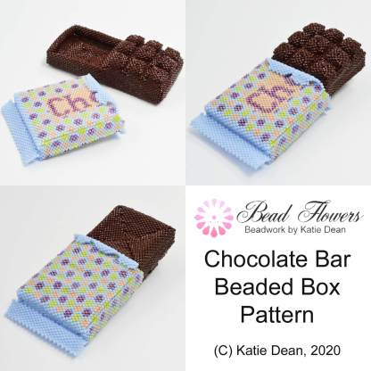 Chocolate bar beaded box pattern, Katie Dean, Beadflowers