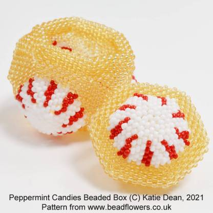 Peppermint candy beaded box pattern, Katie Dean, Beadflowers