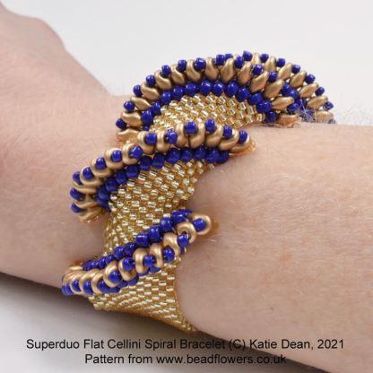 Superduo Flat Cellini spiral bracelet pattern, Katie Dean, Beadflowers