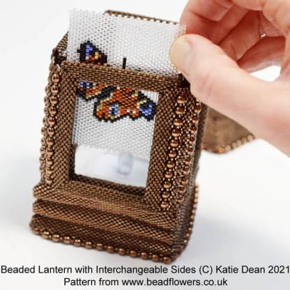 Beaded lantern with interchangeable side panels, Katie Dean, Beadflowers