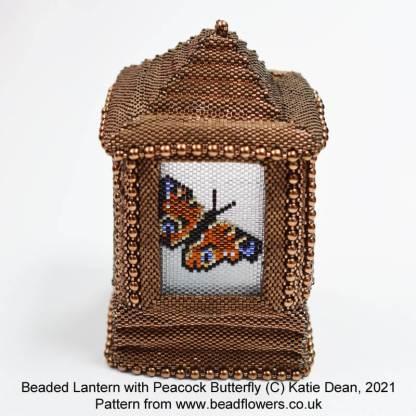 Peacock butterfly peyote stitch side panel for a beaded lantern, Katie Dean, Beadflowers