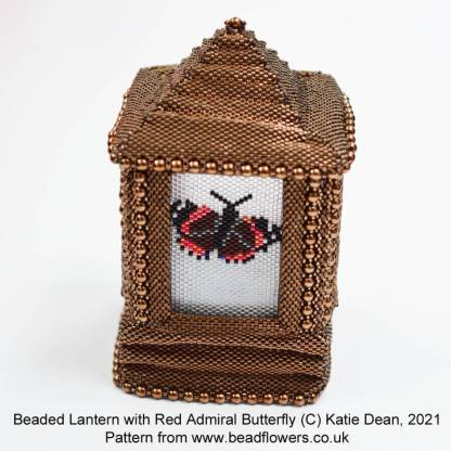 Red Admiral buttterfly peyote pattern for beaded lantern side panels, Katie Dean, Beadflowers