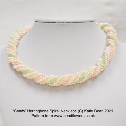 Candy Herringbone spiral necklace pattern, Katie Dean, Beadflowers