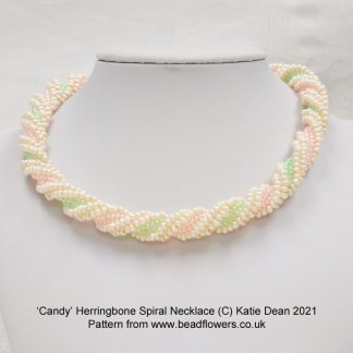 Candy Herringbone spiral necklace pattern, Katie Dean, Beadflowers