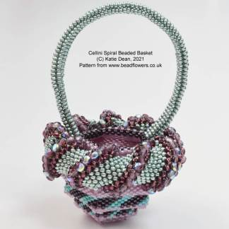 Cellini spiral beaded basket pattern, Katie Dean, Beadflowers