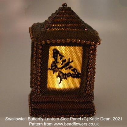 Swallowtail butterfly Peyote stitch side panel for beaded lantern, Katie Dean, Beadflowers