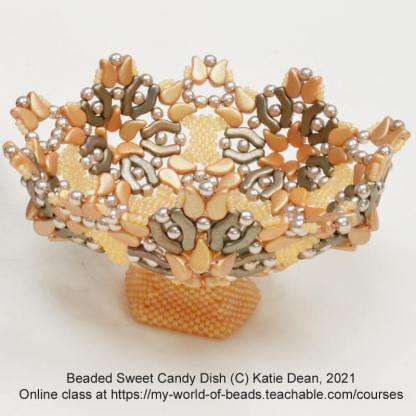 Beaded sweet candy dish by Katie Dean, Beadflowers, My World of Beads