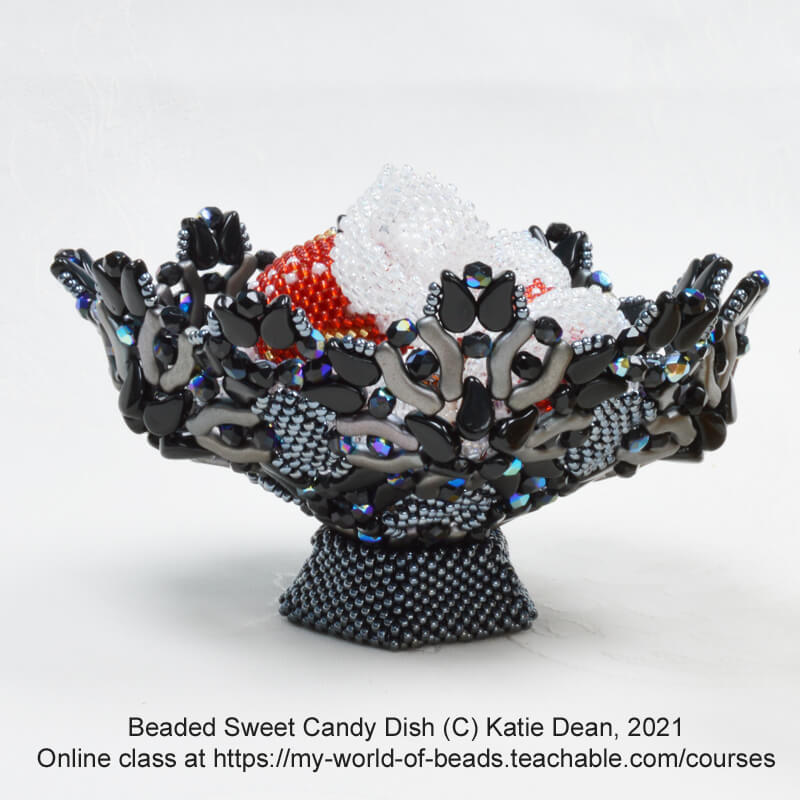 Displaying beaded sweets and candies, Katie Dean