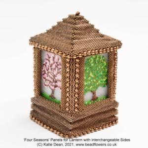 Four seasons Peyote stitch panels for beaded lantern by Katie Dean, Beadflowers