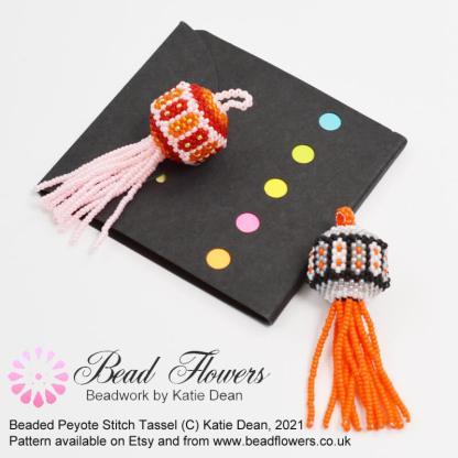 Beaded Tassel Peyote stitch pattern by Katie Dean, Beadflowers