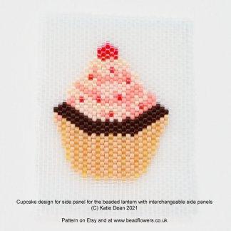 Cupcake Peyote stitch panel for a beaded lantern, designed by Katie Dean, Beadflowers