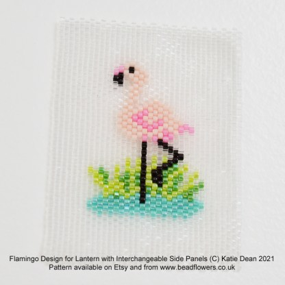 Flamingo peyote stitch design for a panel to fit a beaded lantern by Katie Dean, Beadflowers