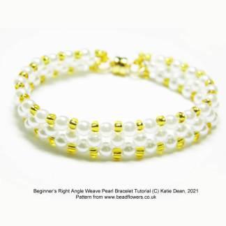 Beginner right angle weave pearl bracelet tutorial, Katie Dean, Beadflowers
