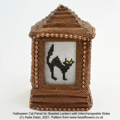 Halloween cat Peyote stitch panel for beaded lantern with interchangeable side panels, Katie Dean, Beadflowers