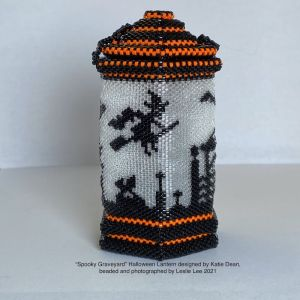 Leslie Lee Spooky Graveyard lantern, beaded from a design by Katie Dean