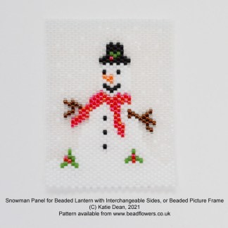Snowman Peyote stitch panel for beaded lantern or beaded picture frame, Katie Dean, Beadflowers