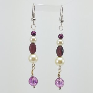 Purple and White dangle earrings