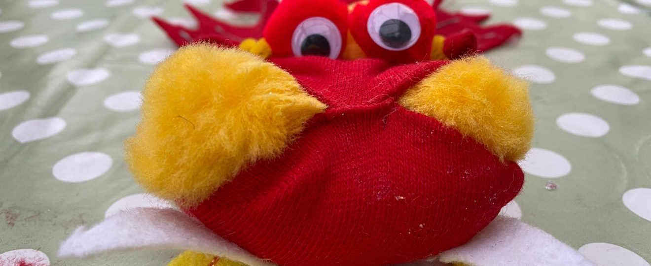 dragon sock puppet cover