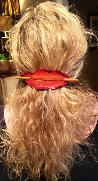 firebird feather leather barrette