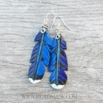 leather blue jay feather earrings with sterling silver wirework