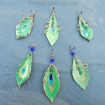leather peacock feather pendants, numbered