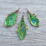 small leather peacock feather pendants