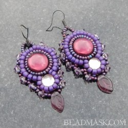 Beaded cabochon earrings with vintage glass cabochons and glass leaves