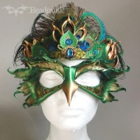 Leather peacock mask and crown.