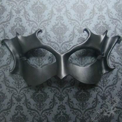 black leather masquerade mask