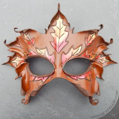 autumn leaves leather mask