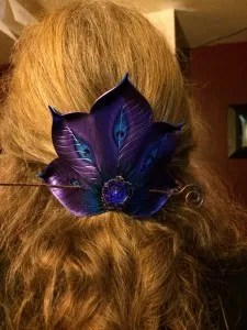 Purple Peacock Fan Barrette © 2011-2014 Andrea Adams