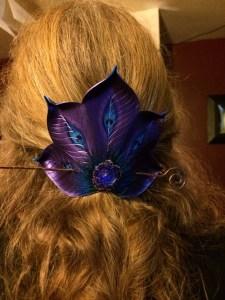 Purple Peacock Fan Barrette © 2011-2014 Andrea Adams