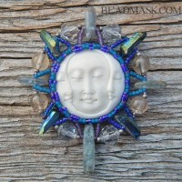 beaded triple moon pendant