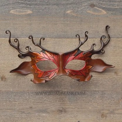 Leather deer mask with tooled oak leaves