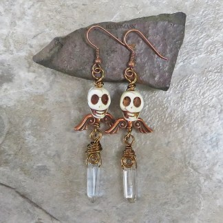 winged skull earrings with quartz crystal points