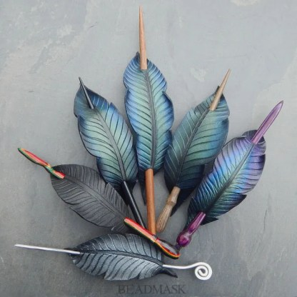 leather corvid feather barrettes