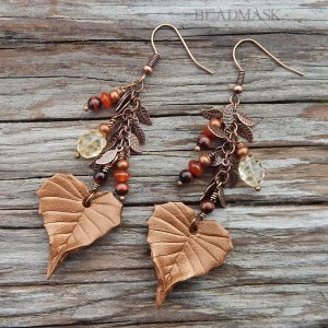 leather birch leaf earrings with semiprecious stones