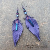 leather feather earrings with quartz crystals